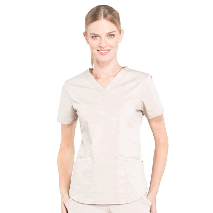 Cherokee Scrubs Top 2XL Cherokee Workwear Professionals WW665 Scrubs Top Women's V-Neck Khaki