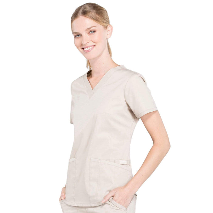 Cherokee Scrubs Top Cherokee Workwear Professionals WW665 Scrubs Top Women's V-Neck Khaki