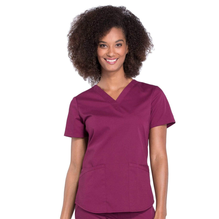 Cherokee Scrubs Top 2XL Cherokee Workwear Professionals WW665 Scrubs Top Women's V-Neck Wine
