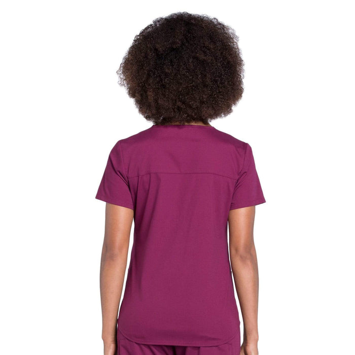 Cherokee Scrubs Top Cherokee Workwear Professionals WW665 Scrubs Top Women's V-Neck Wine