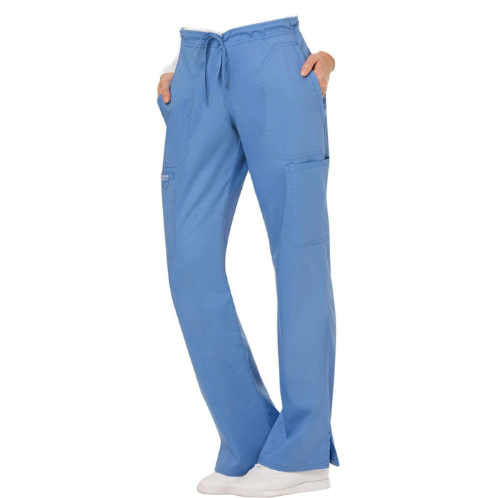 Cherokee Scrubs Pants Cherokee Workwear Revolution WW120 Scrubs Pants Women's Mid Rise Flare Drawstring Ceil Blue