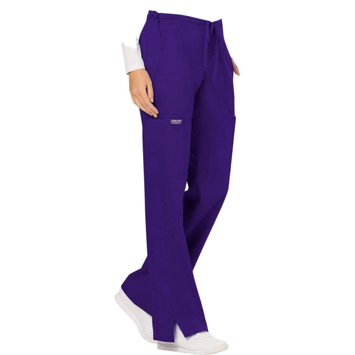 Cherokee Scrubs Pants Cherokee Workwear Revolution WW120 Scrubs Pants Women's Mid Rise Flare Drawstring Grape