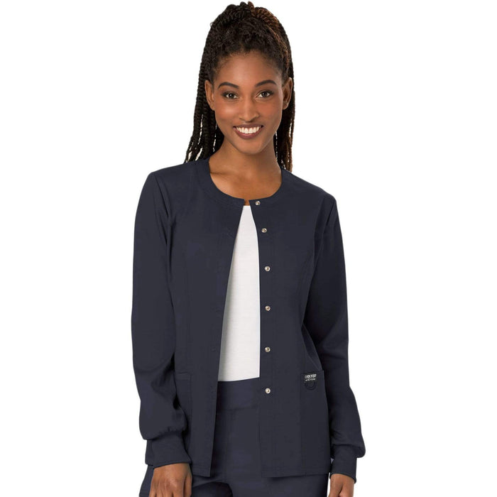 Cherokee Scrubs Jacket Cherokee Workwear Revolution WW310 Scrubs Jacket Women's Snap Front Warm-up Pewter