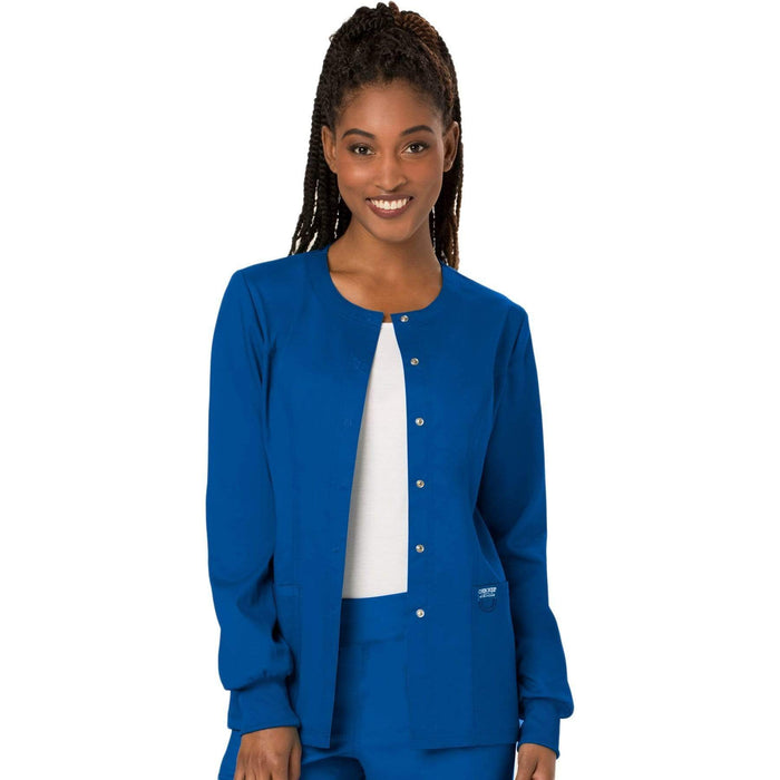 Cherokee Scrubs Jacket 2XL Cherokee Workwear Revolution WW310 Scrubs Jacket Women's Snap Front Warm-up Royal