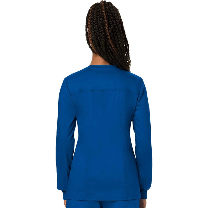 Cherokee Scrubs Jacket Cherokee Workwear Revolution WW310 Scrubs Jacket Women's Snap Front Warm-up Royal