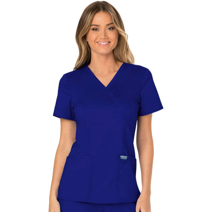 Cherokee Scrubs Top 2XL Cherokee Workwear Revolution WW610 Scrubs Top Women's Mock Wrap Galaxy Blue