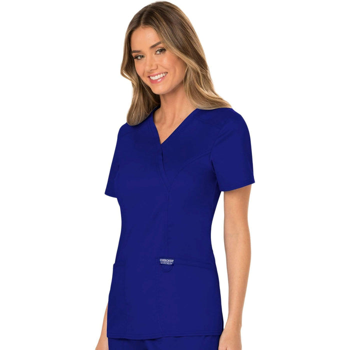 Cherokee Scrubs Top Cherokee Workwear Revolution WW610 Scrubs Top Women's Mock Wrap Galaxy Blue