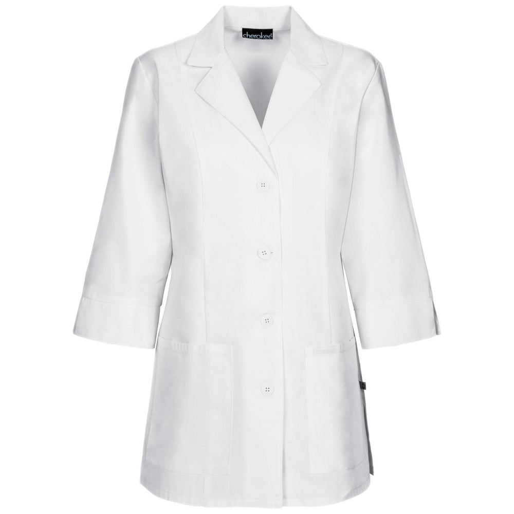"Cherokee Lab Coats Professional Whites with Certainty 30"" 3/4 Sleeve Lab Coat White Lab Coats"