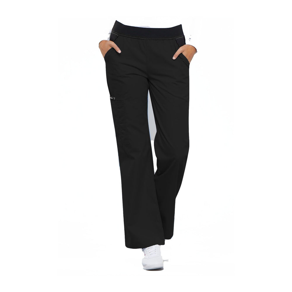 Cherokee Scrub Pants Flexibles (Contrast Black) Mid Rise Knit Waist Pull-On Pant Black Pant