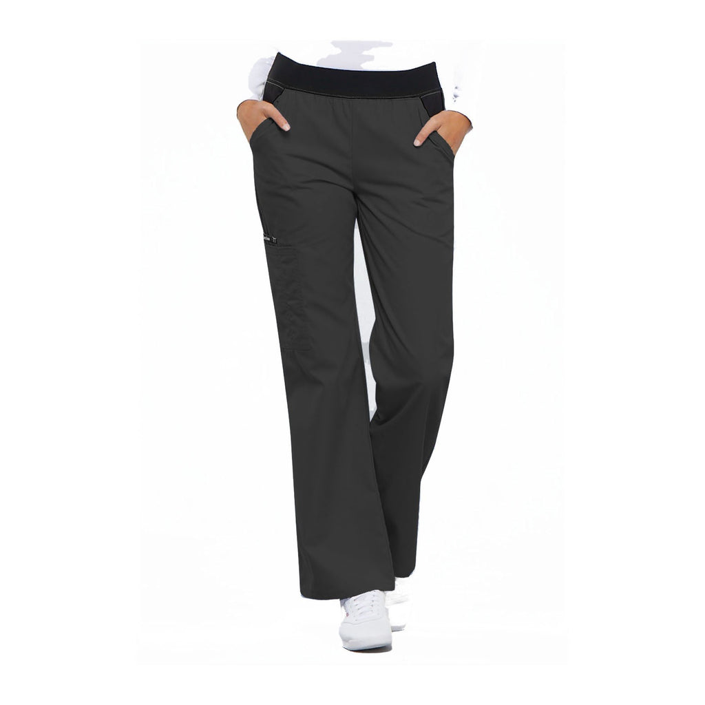 Cherokee Scrub Pants Flexibles (Contrast Black) Mid Rise Knit Waist Pull-On Pant Pewter Pant