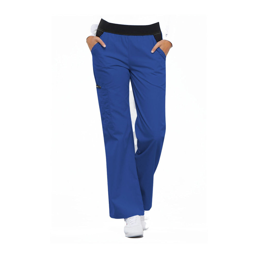 Cherokee Scrub Pants Flexibles (Contrast Black) Mid Rise Knit Waist Pull-On Pant Royal Pant