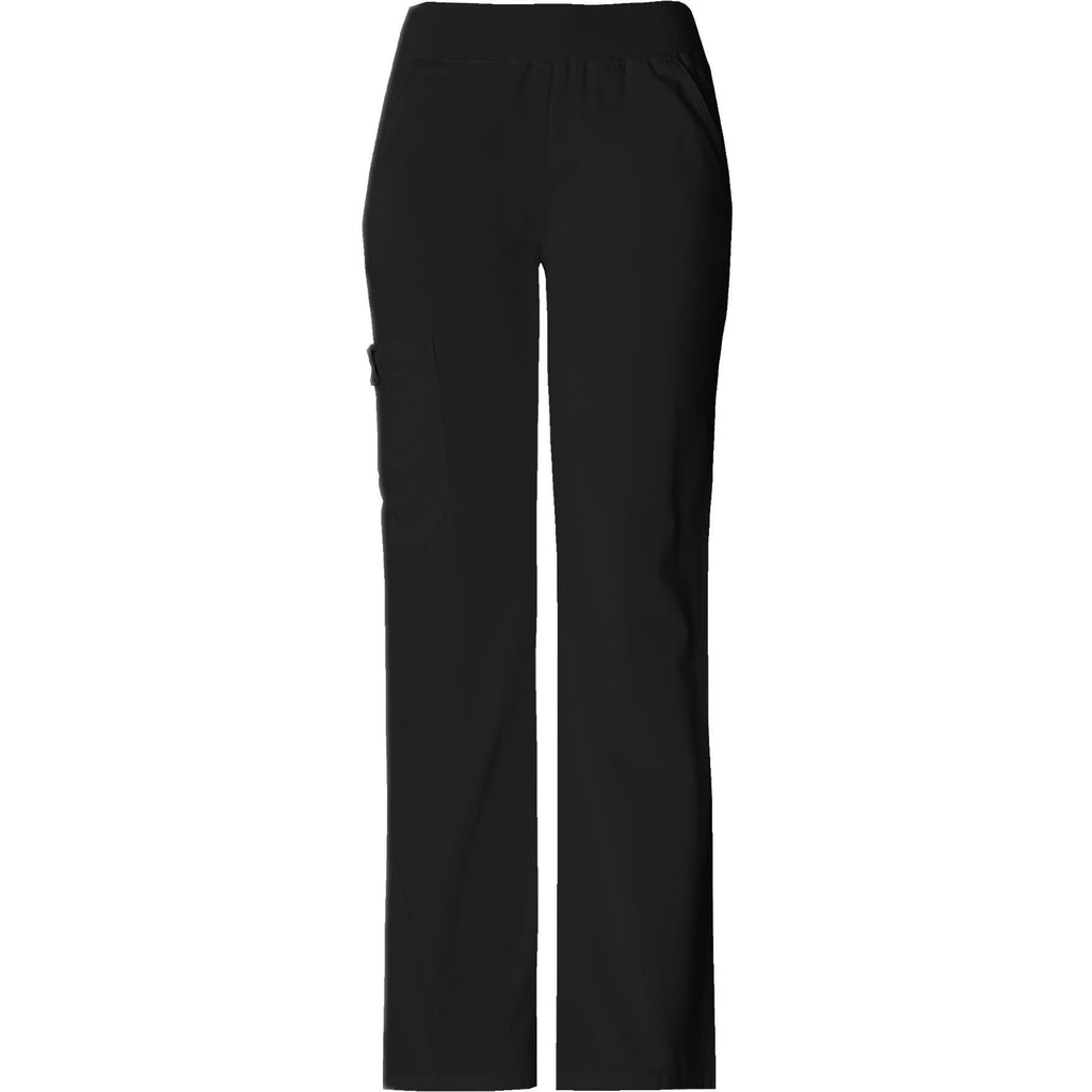 Cherokee Scrub Pants Flexibles (Tonal) Mid Rise Knit Waist Pull-On Pant Black Pant