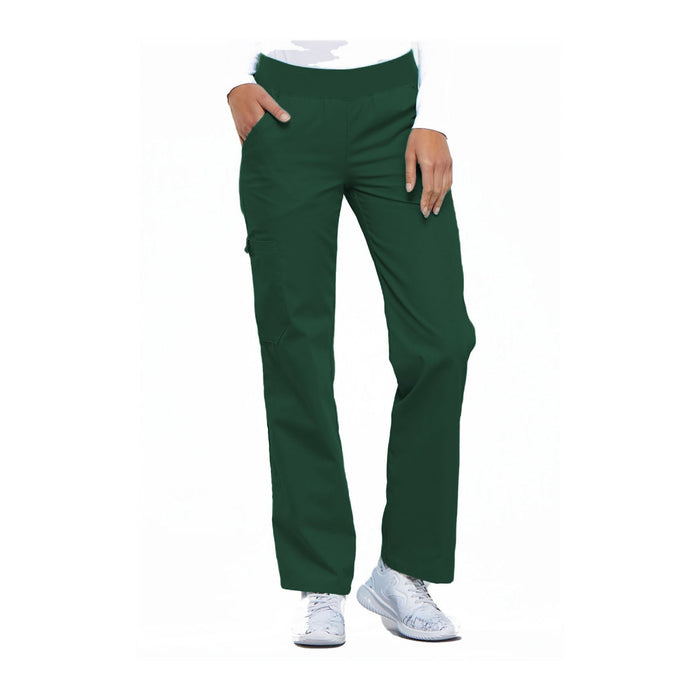 Cherokee Scrub Pants Flexibles (Tonal) Mid Rise Knit Waist Pull-On Pant Hunter Green Pant