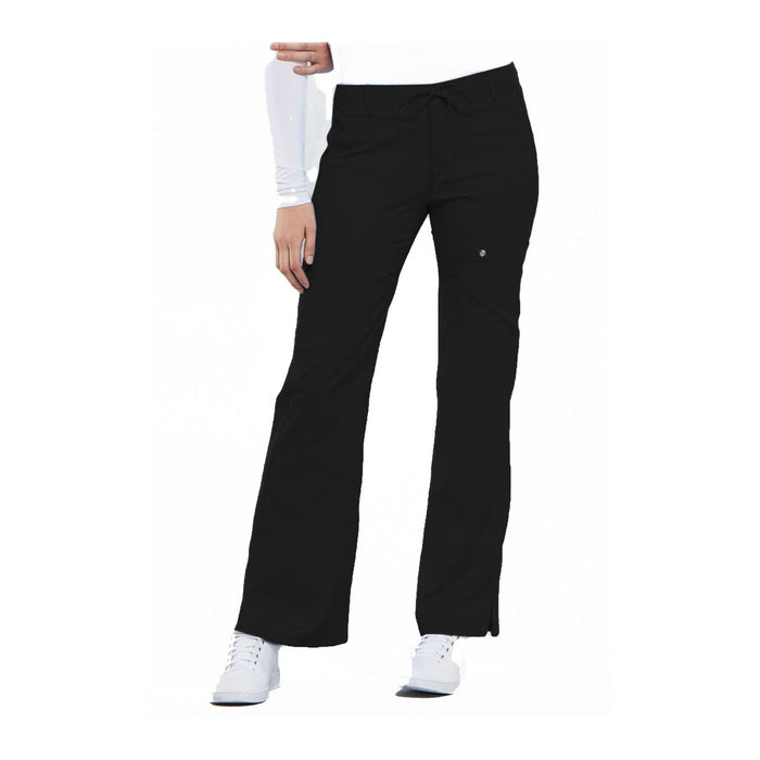 Cherokee Scrub Pants Luxe Contemporary Fit Low Rise Flare Leg Drawstring Cargo Pant Black Pant