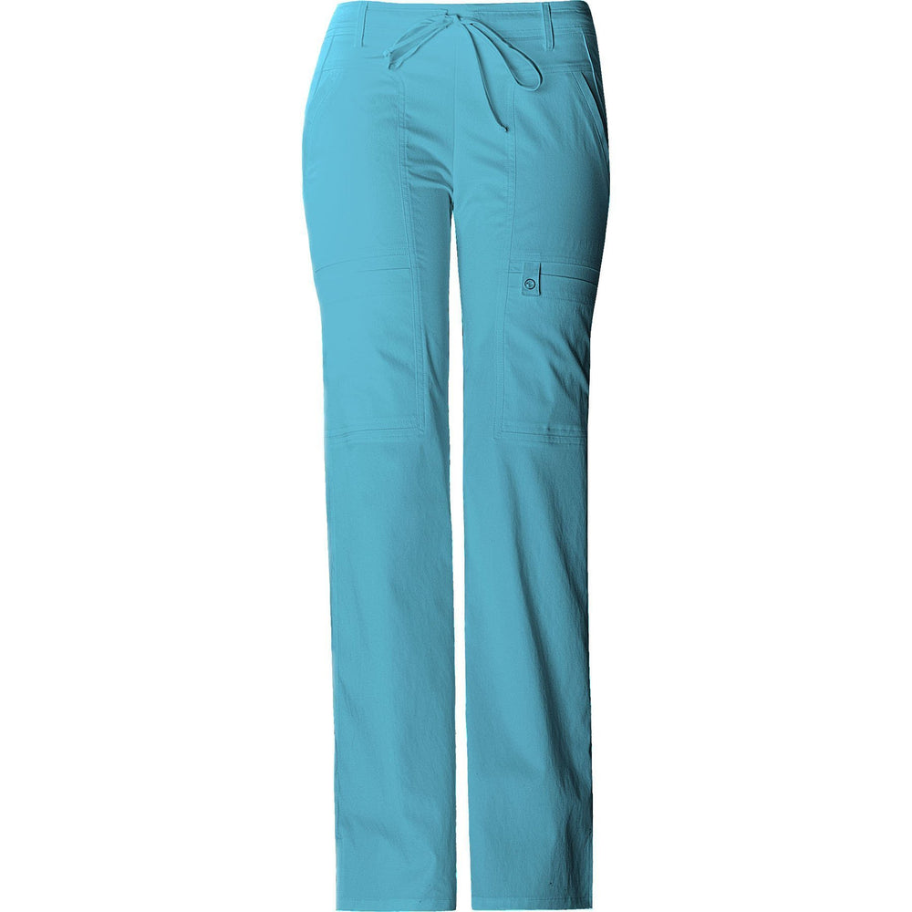 Cherokee Scrub Pants Luxe Contemporary Fit Low Rise Flare Leg Drawstring Cargo Pant Blue Wave Pant
