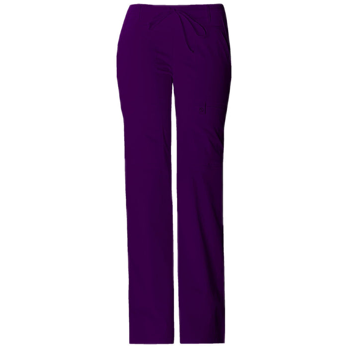 Cherokee Scrub Pants Luxe Contemporary Fit Low Rise Flare Leg Drawstring Cargo Pant Eggplant Pant
