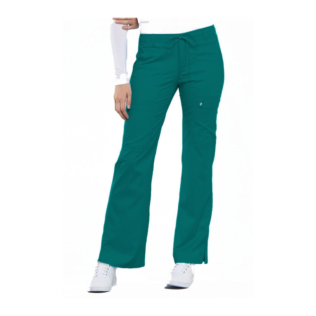 Cherokee Scrub Pants Luxe Contemporary Fit Low Rise Flare Leg Drawstring Cargo Pant Teal Pant