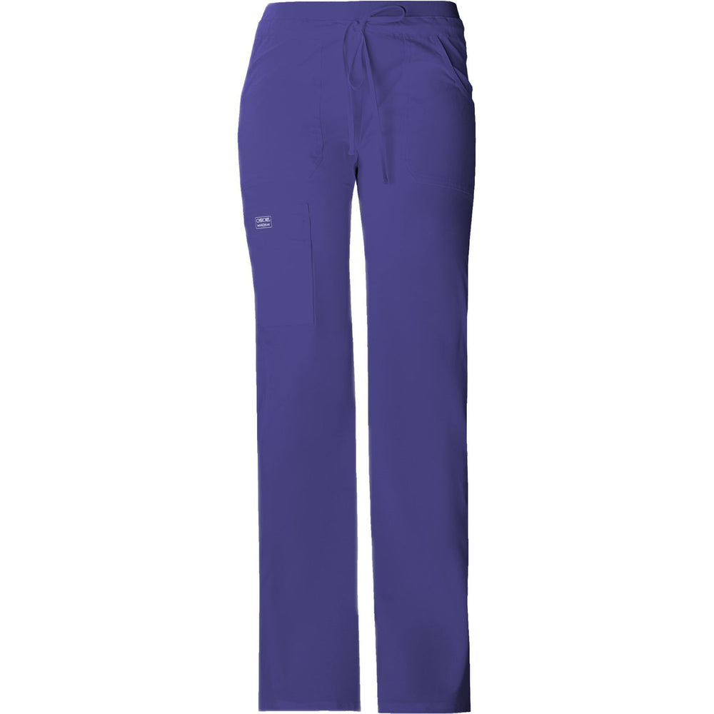 Cherokee Workwear Pant WW Core Stretch Contemporary Fit Low Rise Drawstring Cargo Pant Grape Pant