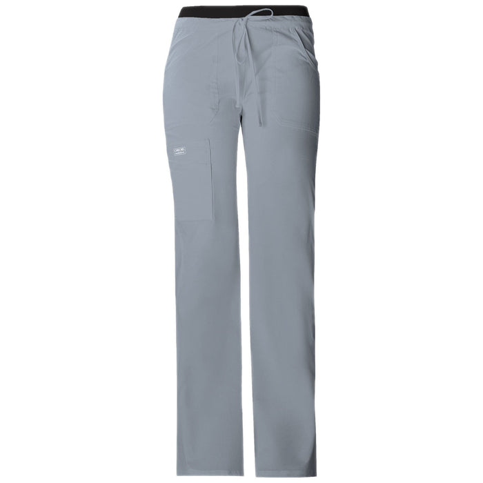 Cherokee Workwear Pant WW Core Stretch Contemporary Fit Low Rise Drawstring Cargo Pant Grey Pant