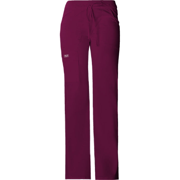 Cherokee Workwear Pant WW Core Stretch Contemporary Fit Low Rise Drawstring Cargo Pant Wine Pant
