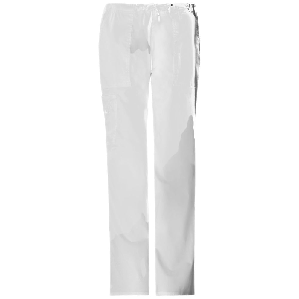 Cherokee Workwear Pant WW Core Stretch Mid Rise Drawstring Cargo Pant White Pant
