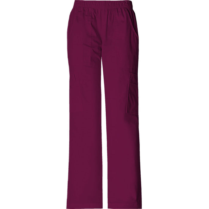 Cherokee Workwear Pant WW Core Stretch Mid Rise Pull-On Pant Cargo Pant Wine Pant
