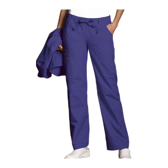 Cherokee Workwear Pant WW Low Rise Drawstring Cargo Pant Grape Pant
