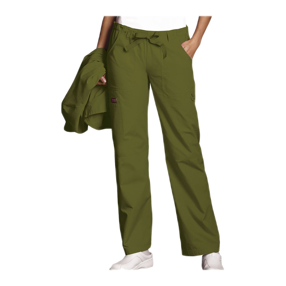Cherokee Workwear Pant WW Low Rise Drawstring Cargo Pant Olive Pant
