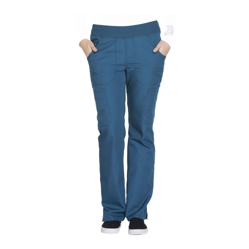 Cherokee Workwear Pant WW Mid Rise Straight Leg Pull-on Cargo Pant Caribbean Blue Pant