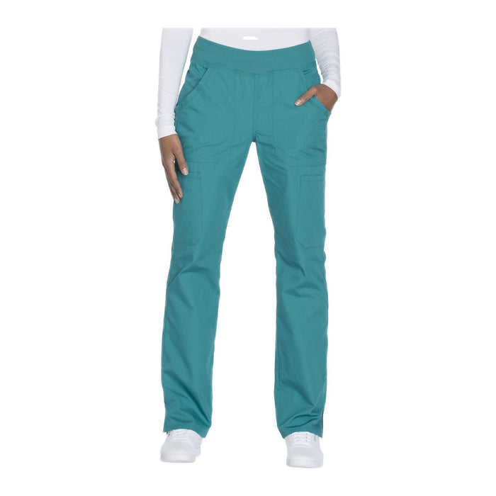 Cherokee Workwear Pant WW Mid Rise Straight Leg Pull-on Cargo Pant Teal Pant