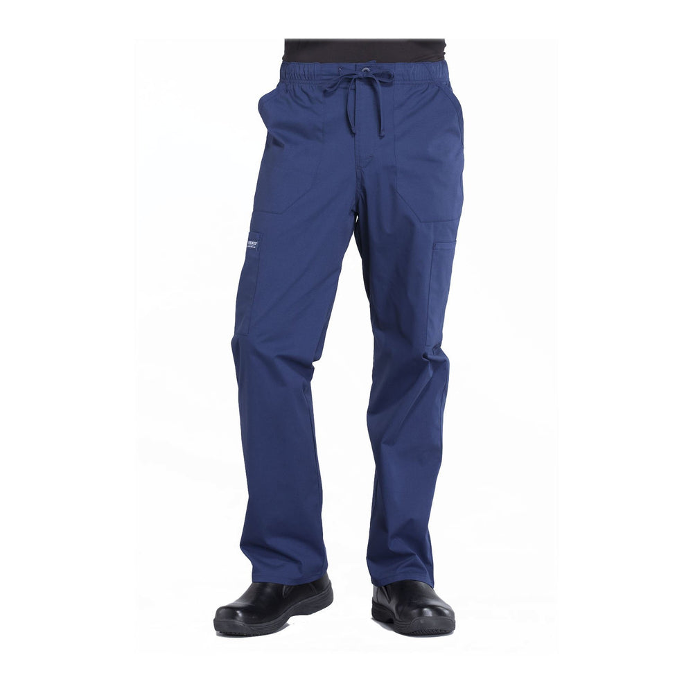 Cherokee Workwear Pant WW Professionals Mens Men's Tapered Leg Drawstring Cargo Pant Navy Pant