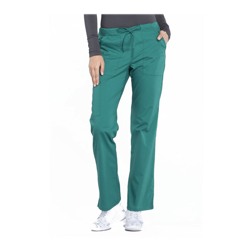 Cherokee Workwear Pant WW Professionals Mid Rise Straight Leg Drawstring Pant Hunter Green Pant