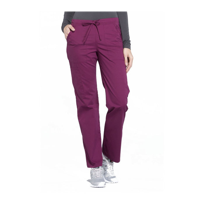 Cherokee Workwear Pant WW Professionals Mid Rise Straight Leg Drawstring Pant Wine Pant