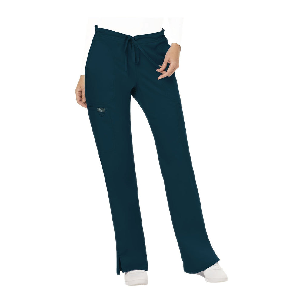 Cherokee Workwear Pant WW Revolution Mid Rise Moderate Flare Drawstring Pant Caribbean Blue Pant