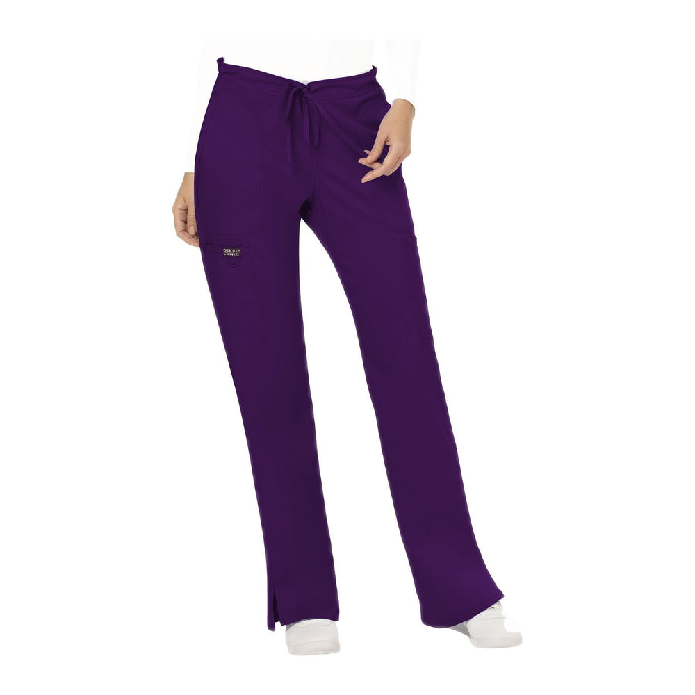 Cherokee Workwear Pant WW Revolution Mid Rise Moderate Flare Drawstring Pant Eggplant Pant