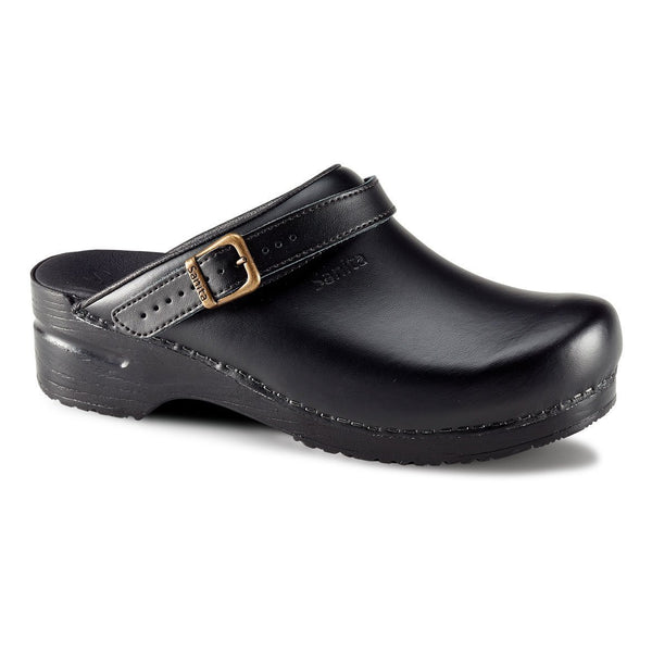 Black / 35 Sanita San Flex Clog Open Heel Strap Shoes