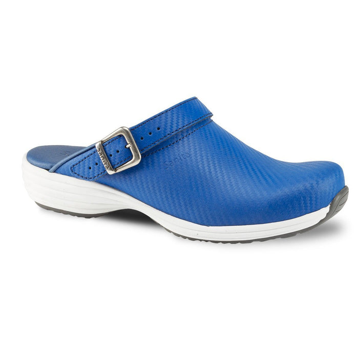 Blue / 36 Sanita Wave Leather with Carbon Style Open Heel Shoes