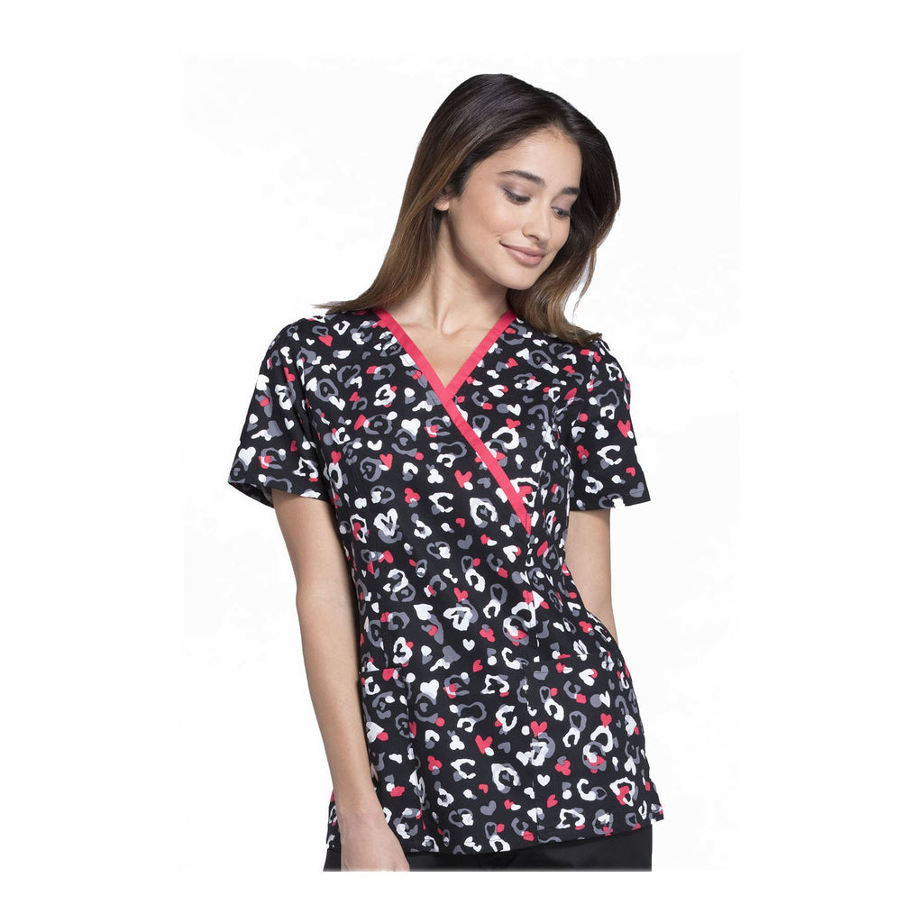 Cherokee Scrub Top Cherokee Genuine Mock Wrap Top Like A Cheetah Top