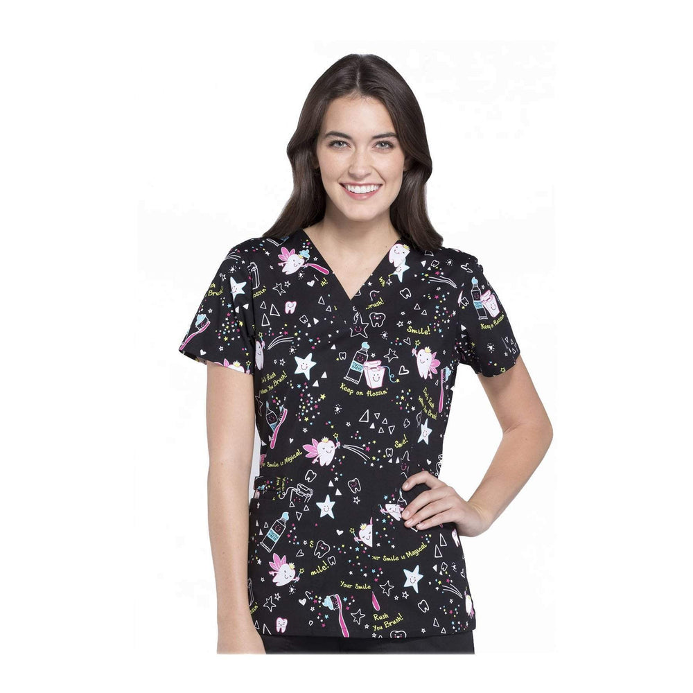 Cherokee Scrub Top Cherokee Genuine V-Neck Top Tooth Fairy Magic Top