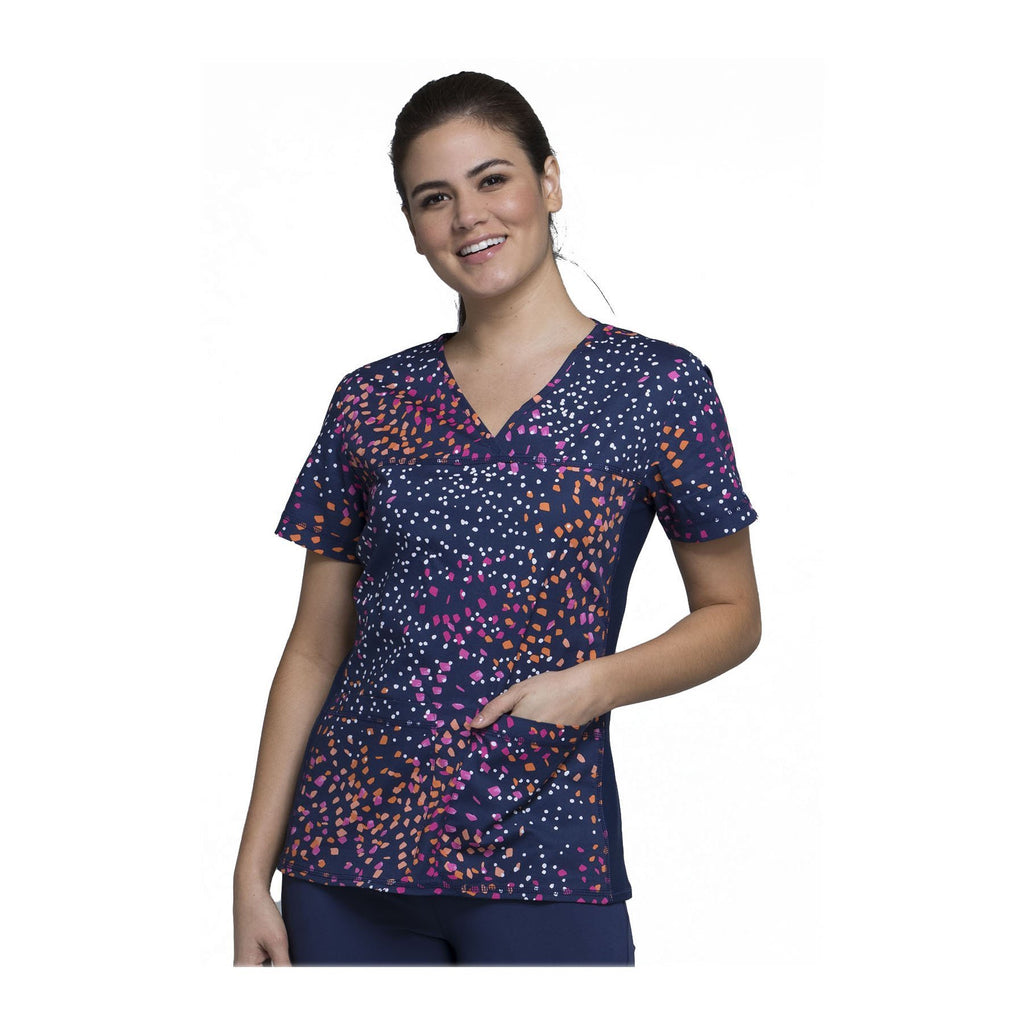 Cherokee Scrub Top Denim Dreams V-Neck Knit Panel Top Speck-tacular Top