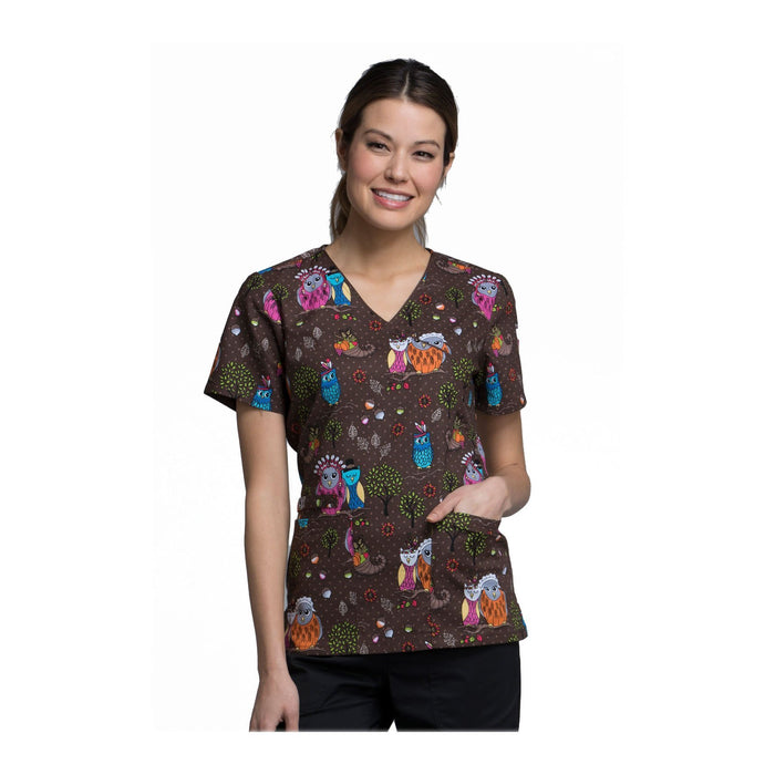 Cherokee Scrub Top Fall Harvest Mock Wrap Top Harvest Hoot Top