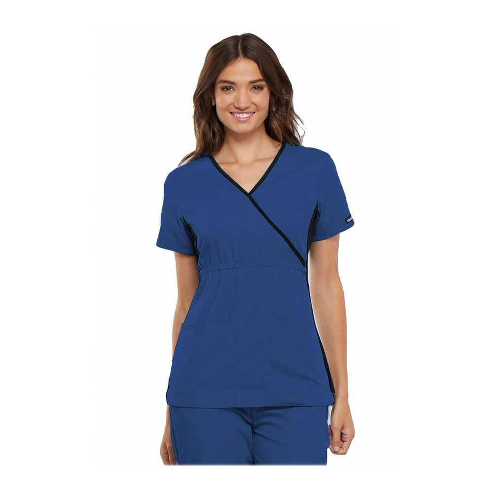 Cherokee Scrub Top Flexibles (Contrast Black) Mock Wrap Knit Panel Top Royal Top
