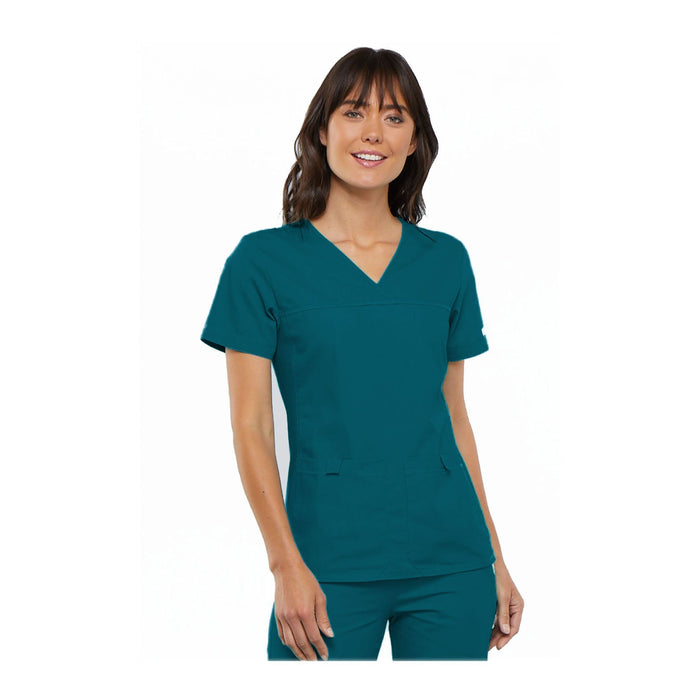 Cherokee Scrub Top Flexibles (Tonal) V-Neck Knit Panel Top Caribbean Top