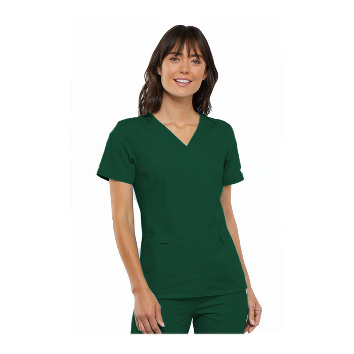 Cherokee Scrub Top Flexibles (Tonal) V-Neck Knit Panel Top Hunter Green Top