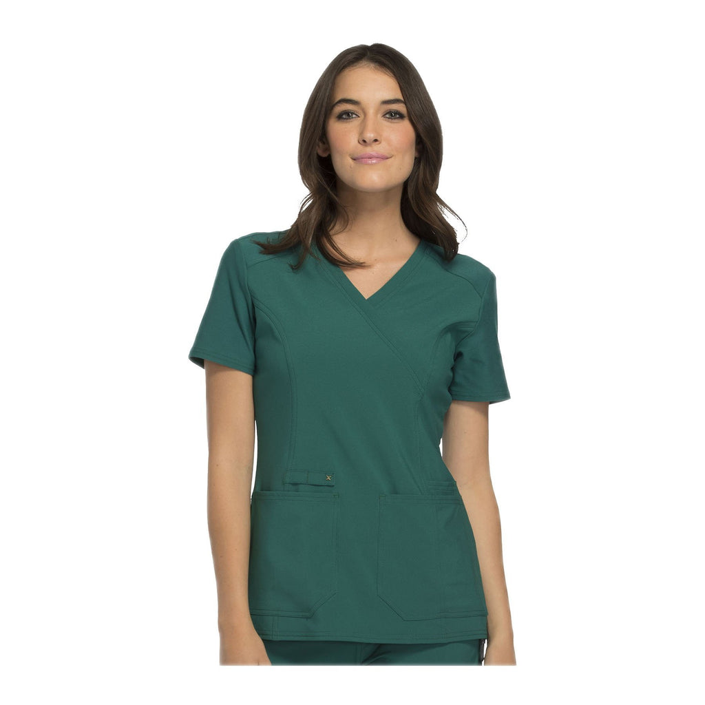 Cherokee Scrub Top iflex Mock Wrap Knit Panel Top Hunter Green Top