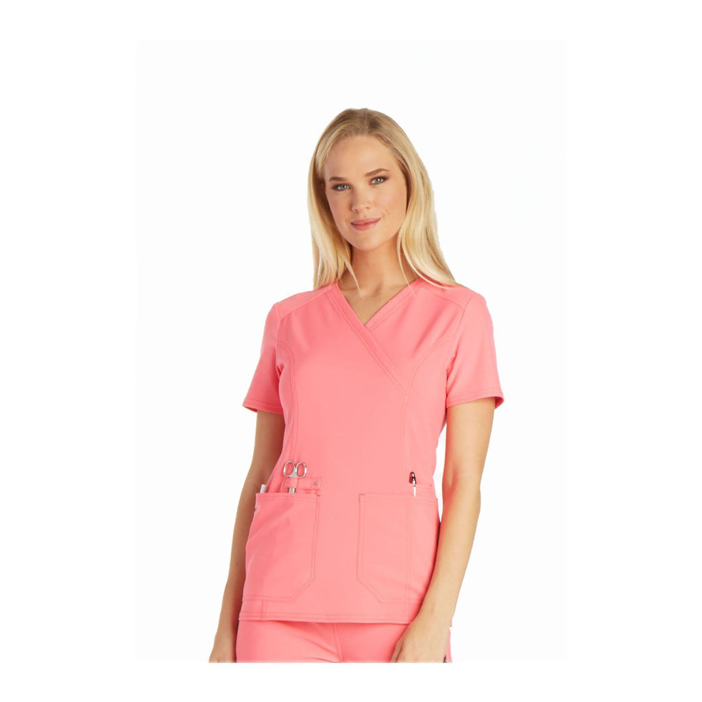 Cherokee Scrub Top iflex Mock Wrap Knit Panel Top Karma Pink Top