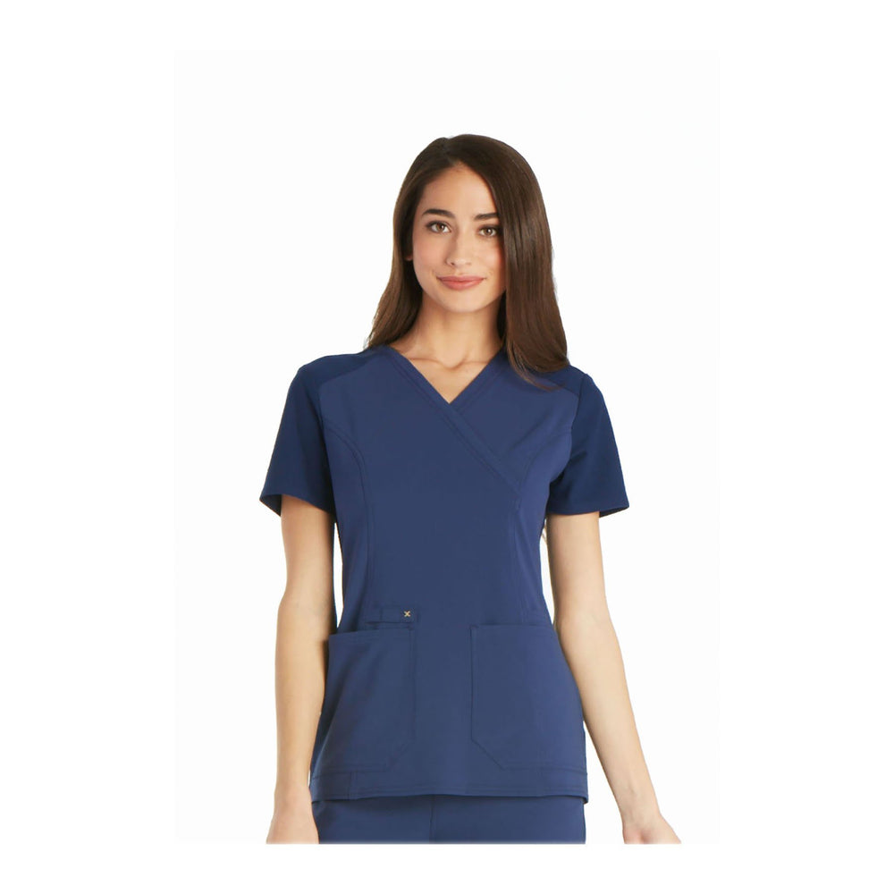 Cherokee Scrub Top iflex Mock Wrap Knit Panel Top Navy Top