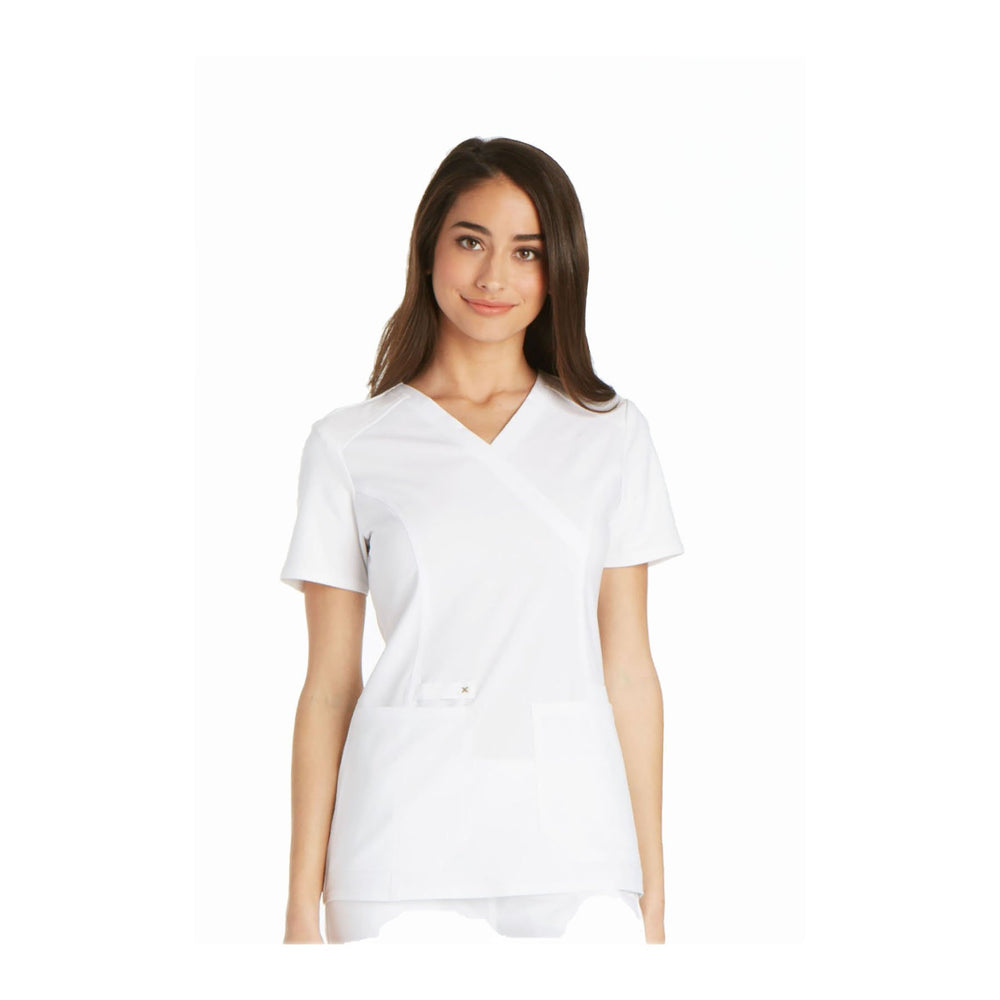 Cherokee Scrub Top iflex Mock Wrap Knit Panel Top White Top