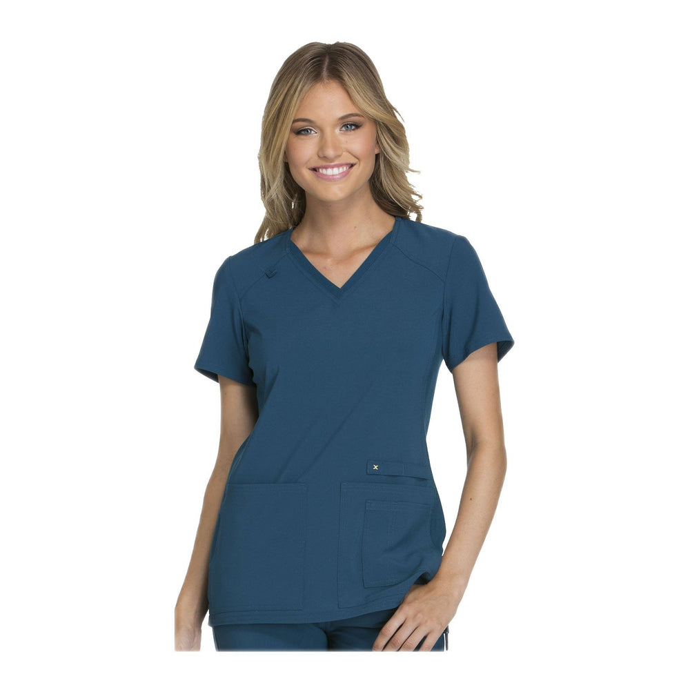 Cherokee Scrub Top iflex V-Neck Knit Panel Top Caribbean Blue Top