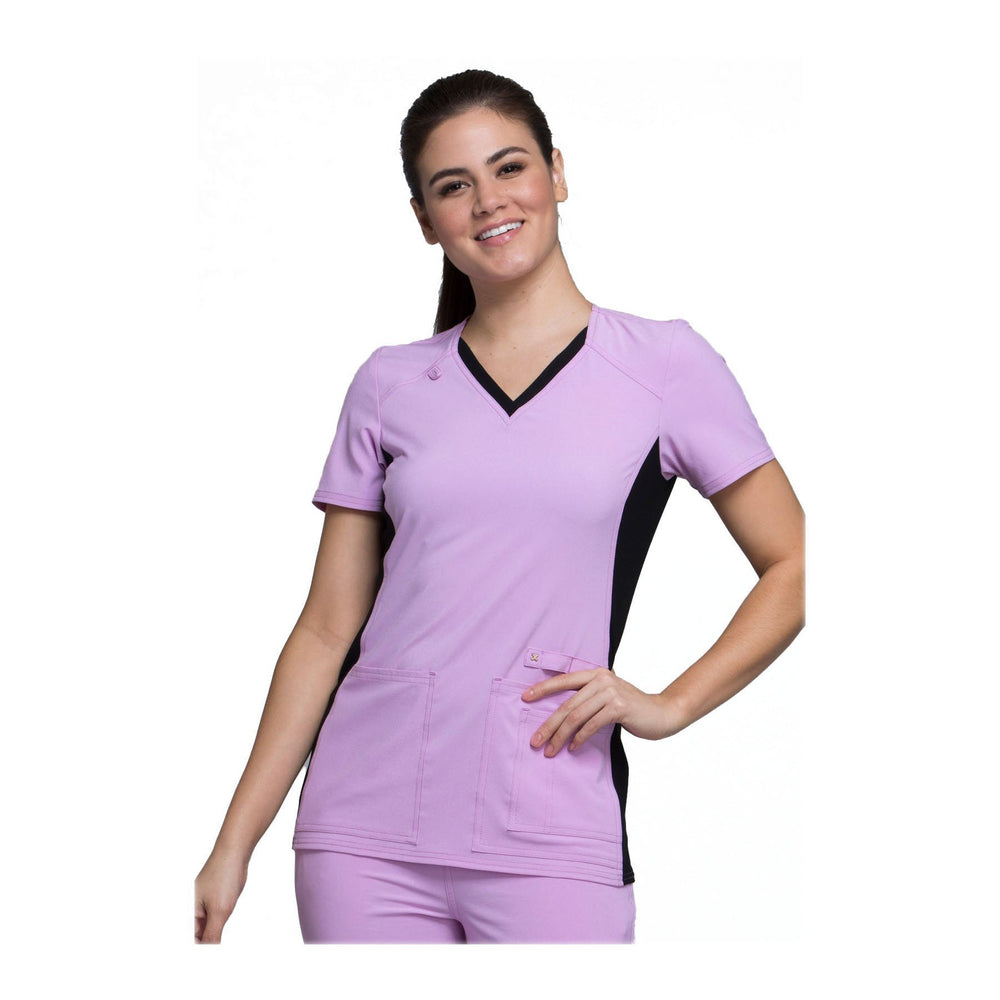 Cherokee Scrub Top iflex V-Neck Knit Panel Top Lilac Love with Black Contrast Top